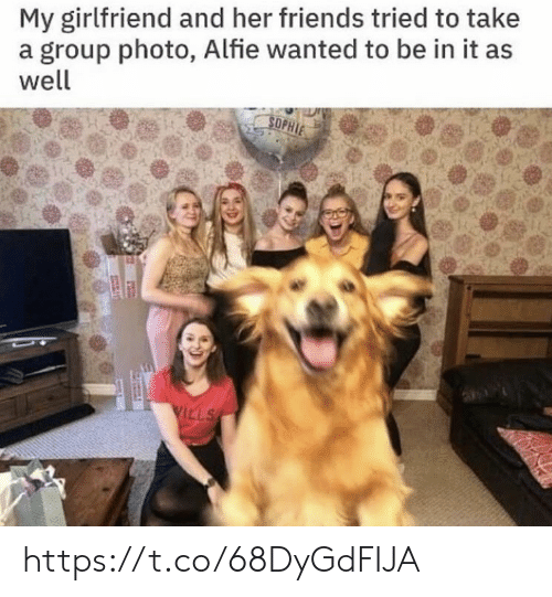 sophie: My girlfriend and her friends tried to take  a group photo, Alfie wanted to be in it as  well  SOPHIE  VILLS https://t.co/68DyGdFIJA