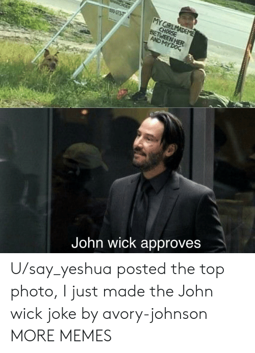 Dank, John Wick, and Memes: MY GIRLMADEME  CHOOSE  BETWEEN HER  AND MY DOG  W-3737  John wick approves U/say_yeshua posted the top photo, I just made the John wick joke by avory-johnson MORE MEMES