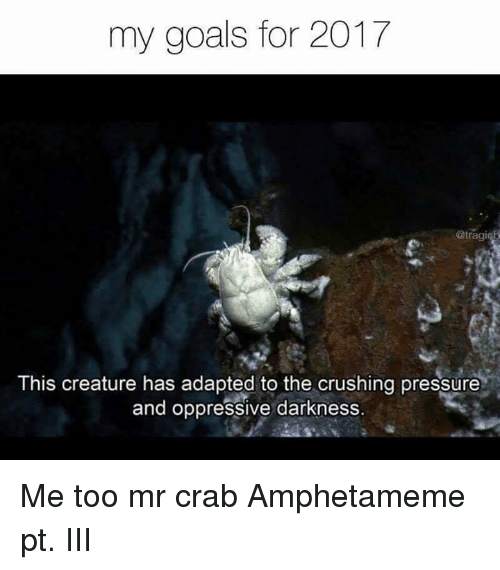 the crush: my goals for 2017  @tragi  This creature has adapted to the crushing pressure  and oppressive darkness. Me too mr crab  Amphetameme pt. III