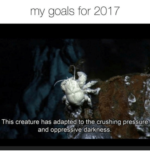 the crush: my goals for 2017  @tragi  This creature has adapted to the crushing pressure  and oppressive darkness.