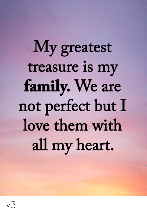Family, Love, and Memes: My greatest  treasure is my  family. We are  not perfect but I  love them with  all my heart. <3