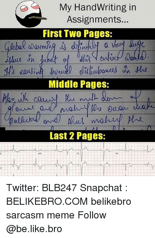 Broing: My HandWriting in  Assignments...  First Tw0 Pages:  0  Middle Pages:  Last 2 Pages: Twitter: BLB247 Snapchat : BELIKEBRO.COM belikebro sarcasm meme Follow @be.like.bro