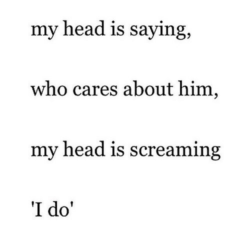 Head, Who, and Him: my head is saying  who cares about him,  my head is screaming  I do'