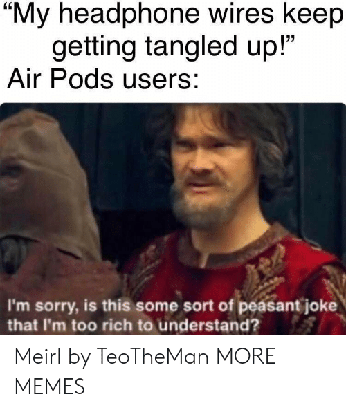 """Tangled: """"My headphone wires keep  getting tangled up!""""  Air Pods users:  I'm sorry, is this some sort of peasant joke  that I'm too rich to understand? Meirl by TeoTheMan MORE MEMES"""