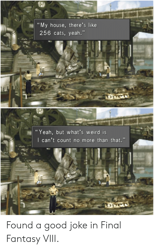 "Yeah But: ""My house, there's like  256 cats, yeah.""  OM  ""Yeah, but what's weird is  I can't count no more than that."" Found a good joke in Final Fantasy VIII."
