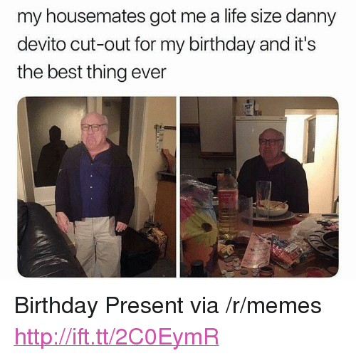 "life size: my housemates got me a life size danny  devito cut-out for my birthday and it's  the best thing ever <p>Birthday Present via /r/memes <a href=""http://ift.tt/2C0EymR"">http://ift.tt/2C0EymR</a></p>"