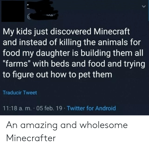 "Android, Animals, and Food: My kids just discovered Minecraft  and instead of killing the animals for  food my daughter is building them all  ""farms"" with beds and food and trying  to figure out how to pet them  Traducir Tweet  11:18 a.m. 05 feb. 19 Twitter for Android An amazing and wholesome Minecrafter"