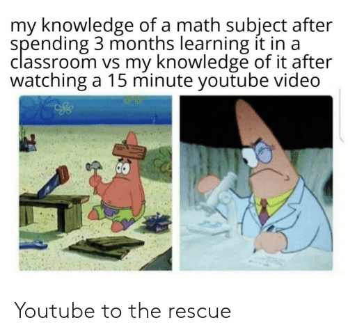 Youtube Video: my knowledge of a math subject after  spending 3 months learning it in a  classroom vs my knowledge of it after  watching a 15 minute youtube video Youtube to the rescue