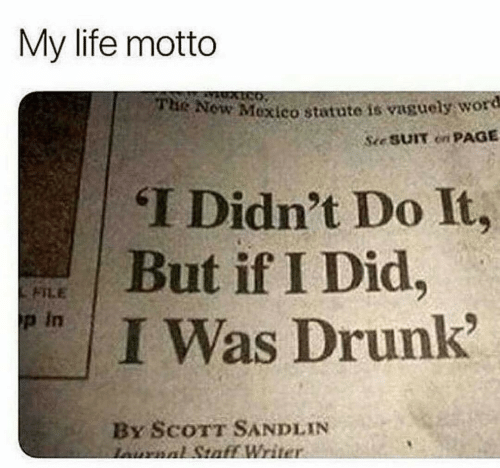 motto: My life motto  Now Mexico statute is vaguely word  See SUIT on PAGE  THe  T Didn't Do It,  면 | But if I Did.  FILE  p in  I Was Drunk  By ScoTT SANDLIN  Writ