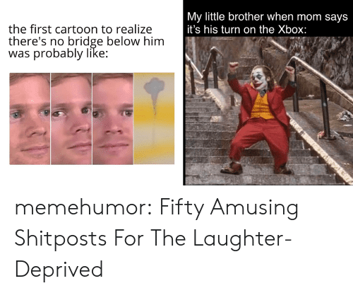 Tumblr, Xbox, and Blog: My little brother when mom says  it's his turn on the Xbox:  the first cartoon to realize  there's no bridge below him  was probably like: memehumor:  Fifty Amusing Shitposts For The Laughter-Deprived