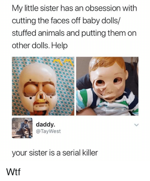 Animals, Dank, and Wtf: My little sister has an obsession with  cutting the faces off baby dolls/  stuffed animals and putting them on  other dolls. Help  daddy  @TayWest  your sister is a serial killer Wtf