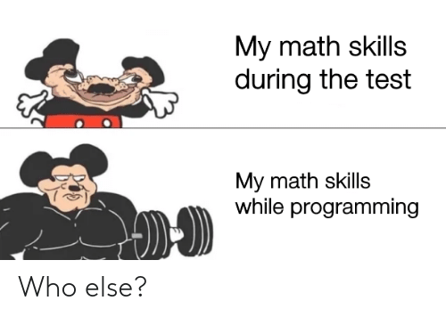 else: My math skills  during the test  My math skills  while programming Who else?