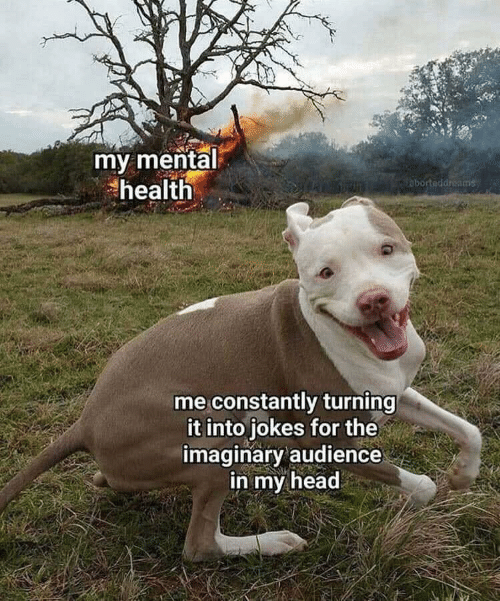 Head, Jokes, and Mental Health: my mental  health  abortaddreams  me constantly turning  it into jokes for the  imaginary audience  in my head