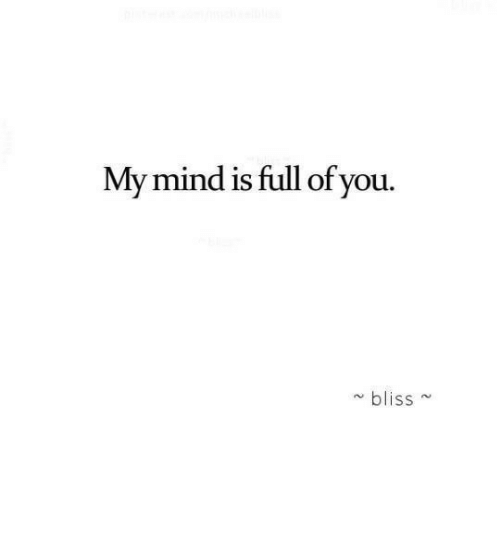 Mind, Bliss, and You: My mind is full of you.  bliss~