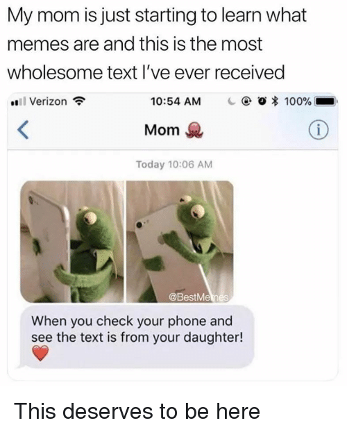 Anaconda, Memes, and Phone: My mom is just starting to learn what  memes are and this is the most  wholesome text l've ever received  Verizon  10:54 AM    @ Ο 100%  Mom  Today 10:06 AM  @BestMemes  When you check your phone and  see the text is from your daughter! This deserves to be here