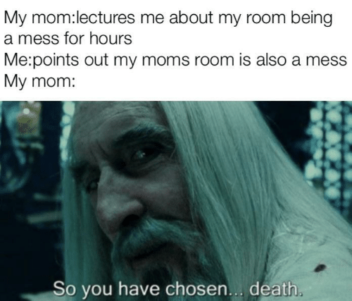 Moms, Death, and Mom: My mom:lectures me about my room being  a mess for hours  Me:points out my moms room is also a mess  My mom:  So you have chosen... death.