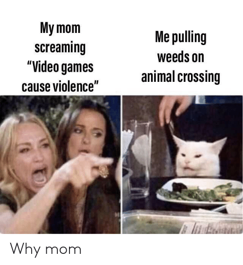 "Animal Crossing: My mom  screaming  ""Video games  Me pulling  weeds on  animal crossing  cause violence"" Why mom"