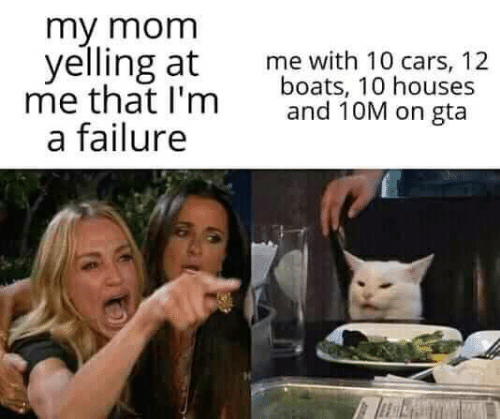 Boats: my mom  yelling at  me that I'm  a failure  me with 10 cars, 12  boats, 10 houses  and 10M on gta