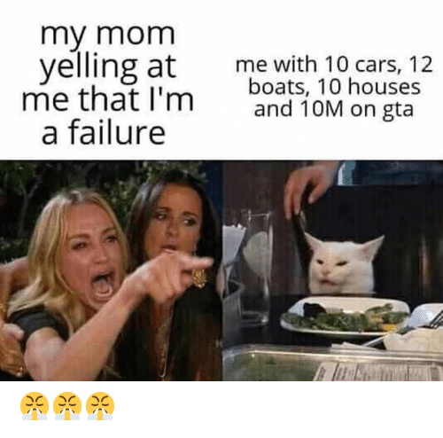 Boats: my mom  yelling at  me that I'm  a failure  me with 10 cars, 12  boats, 10 houses  and 10M on gta 😤😤😤