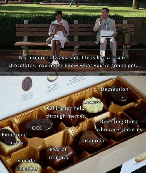 Insomnia: My momma always said, life is like a box of  chocolates. You never know what you're gonna get.  2 Depression  Calling for help  through memes  Rejecting those  who care about us  OCD  Emotional  trauma  Insomnia  Fear o  Suicidal intimacy  thoughts