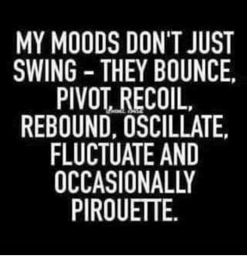 Bounc: MY MOODS DON'T JUST  SWING THEY BOUNCE.  PIVOT RECOIL,  REBOUND, OSCILLATE.  FLUCTUATE AND  OCCASIONALLY  PIROUETTE.