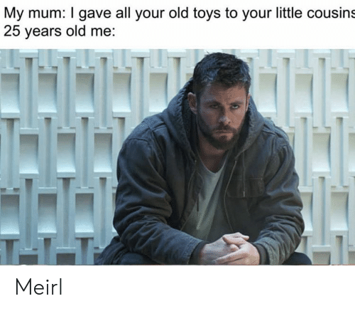 Toys, Old, and MeIRL: My mum: I gave all your old toys to your little cousins  25 years old me:  T11 Meirl