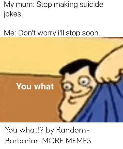Suicide: My mum: Stop making suicide  jokes.  Me: Don't worry i'll stop soon.  You what You what!? by Random-Barbarian MORE MEMES