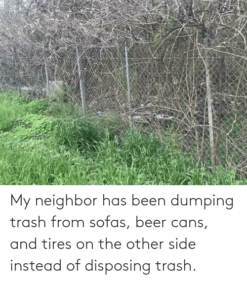 dumping: My neighbor has been dumping trash from sofas, beer cans, and tires on the other side instead of disposing trash.