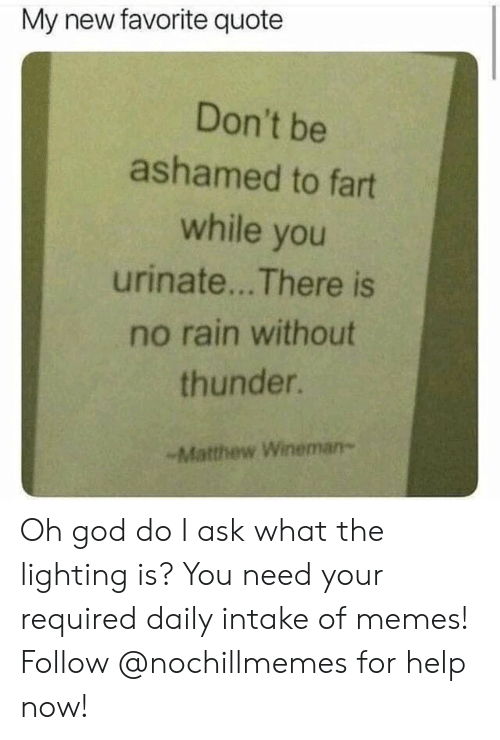 Intake: My new favorite quote  Don't be  ashamed to fart  while you  urinate... There is  no rain without  thunder.  -Matthew Wineman- Oh god do I ask what the lighting is?  You need your required daily intake of memes! Follow @nochillmemes for help now!