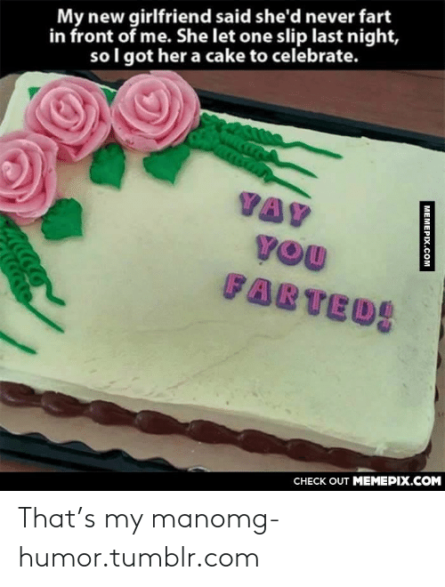 Omg, Tumblr, and Cake: My new girlfriend said she'd never fart  in front of me. She let one slip last night,  so l got her a cake to celebrate.  VAY  YOU  FARTED  CHECK OUT MEMEPIX.COM  MEMEPIX.COM That's my manomg-humor.tumblr.com