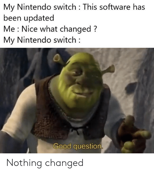 Nintendo, Good, and Nice: My Nintendo switch This software has  been updated  Me : Nice what changed?  My Nintendo switch  Good question. Nothing changed