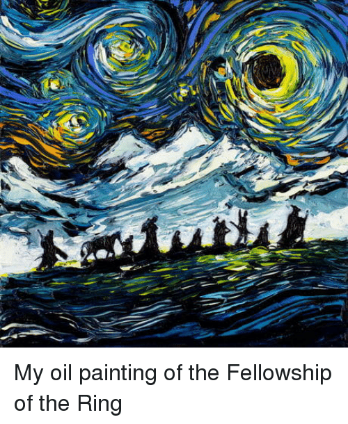fellowship: My oil painting of the Fellowship of the Ring