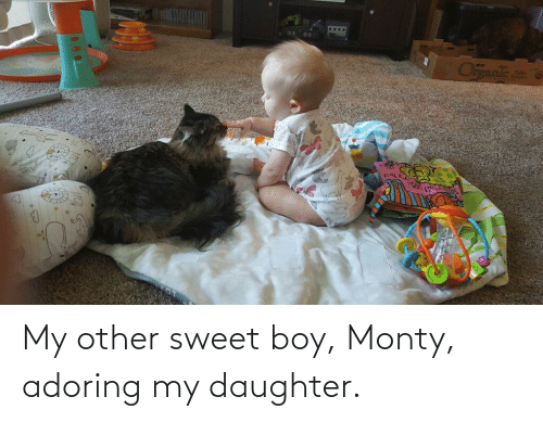 my daughter: My other sweet boy, Monty, adoring my daughter.