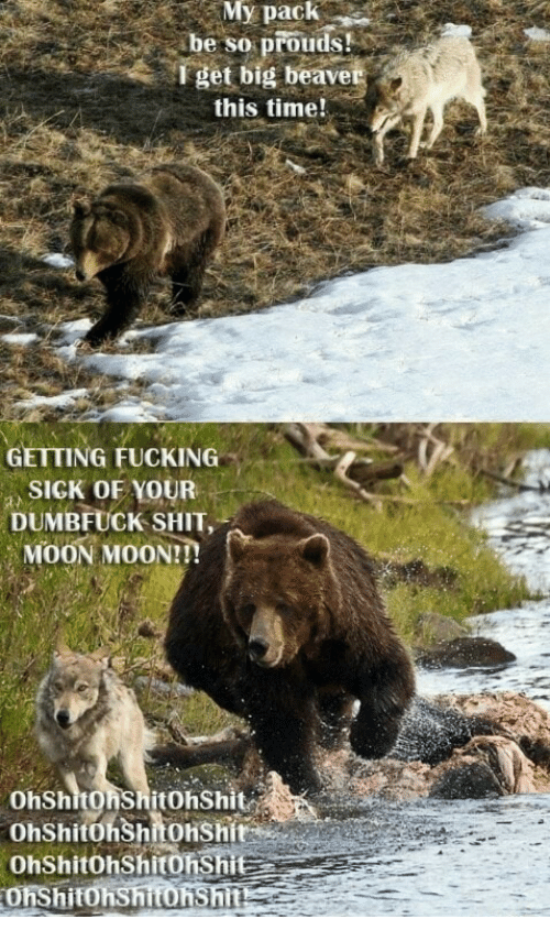 moon moon: My  pack  be so prouds!  l get big beave  this time!  GETTING FUCKING  SIGK OF YOUR  DUMBFUCK SHIT,  MOON MOON!!  OhShitOnShitOhShit  OhShitöhShitonshit  Ohshitohshitonshi