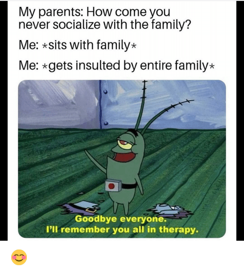 Family, Funny, and Parents: My parents: How come you  never socialize with the family?  Me: *sits with family-*  Me: gets insulted by entire family*  Goodbye everyone.  I'll remember you all in therapy. 😊