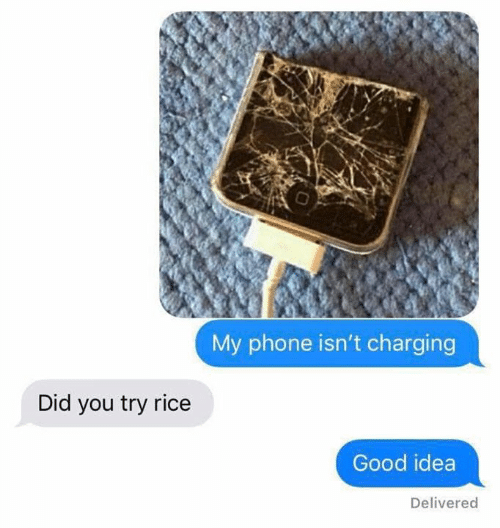 Phone, Good, and Idea: My phone isn't charging  Did you try rice  Good idea  Delivered