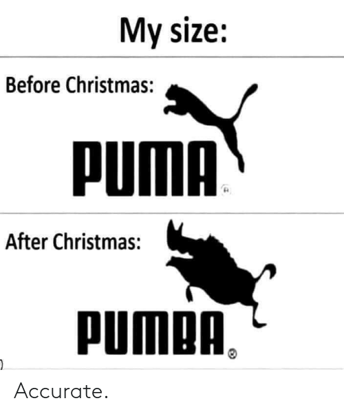 Puma: My size:  Before Christmas:  PUMA  After Christmas:  PUMPA, Accurate.