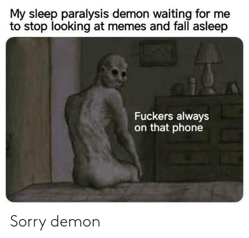 Sleep: My sleep paralysis demon waiting for me  to stop looking at memes and fall asleep  Fuckers always  on that phone Sorry demon