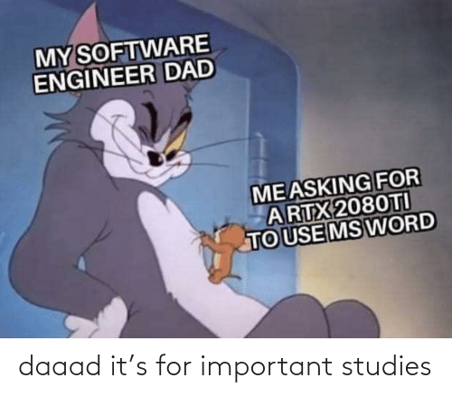 software: MY SOFTWARE  ENGINEER DAD  MEASKING FOR  ARTX 2080TI  TO USE MS WORD daaad it's for important studies