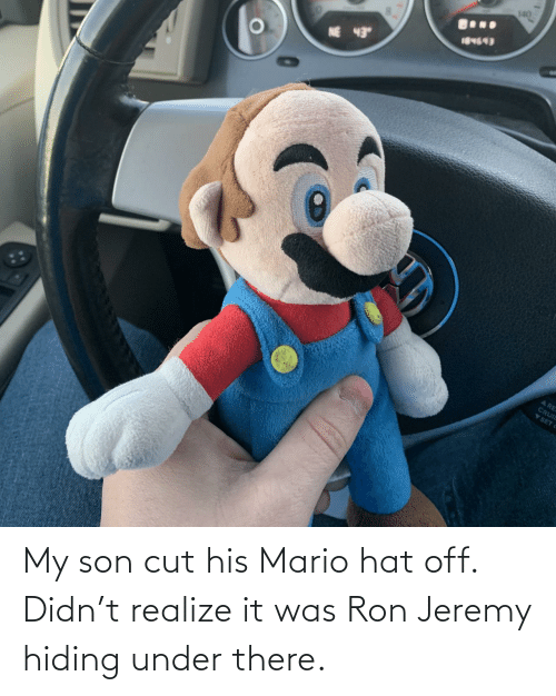 hat: My son cut his Mario hat off. Didn't realize it was Ron Jeremy hiding under there.