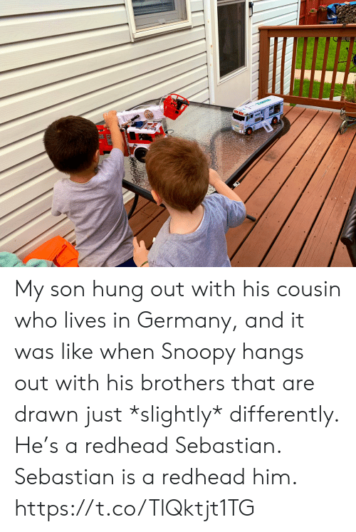Memes, Germany, and Snoopy: My son hung out with his cousin who lives in Germany, and it was like when Snoopy hangs out with his brothers that are drawn just *slightly* differently. He's a redhead Sebastian.  Sebastian is a redhead him. https://t.co/TlQktjt1TG