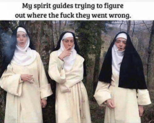 Fuck, Spirit, and They: My spirit guides trying to figure  out where the fuck they went wrong.