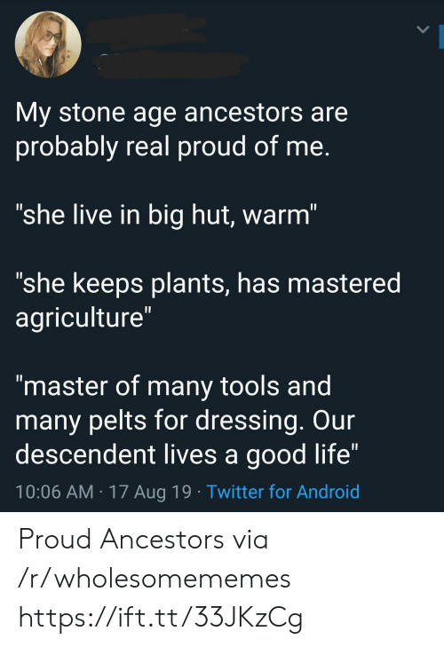 """dressing: My stone age ancestors are  probably real proud of me.  """"she live in big hut, warm""""  """"she keeps plants, has mastered  agriculture""""  II  """"master of many tools and  many pelts for dressing. Our  descendent lives a good life""""  10:06 AM 17 Aug 19 Twitter for Android Proud Ancestors via /r/wholesomememes https://ift.tt/33JKzCg"""