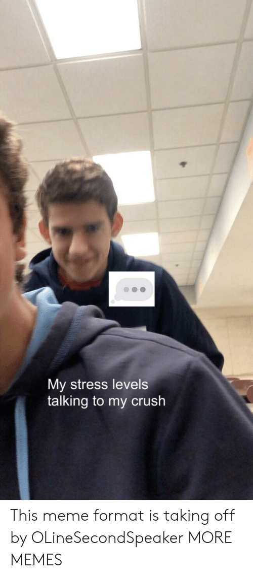 Crush, Dank, and Meme: My stress levels  talking to my crush This meme format is taking off by OLineSecondSpeaker MORE MEMES