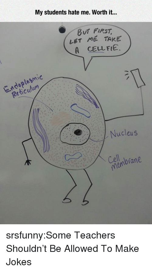 Tumblr, Blog, and Http: My students hate me. Worth it..  LET ME TAKE  A CELLFIE.  lusmic  2e  Nucleus  Celnbrane srsfunny:Some Teachers Shouldn't Be Allowed To Make Jokes