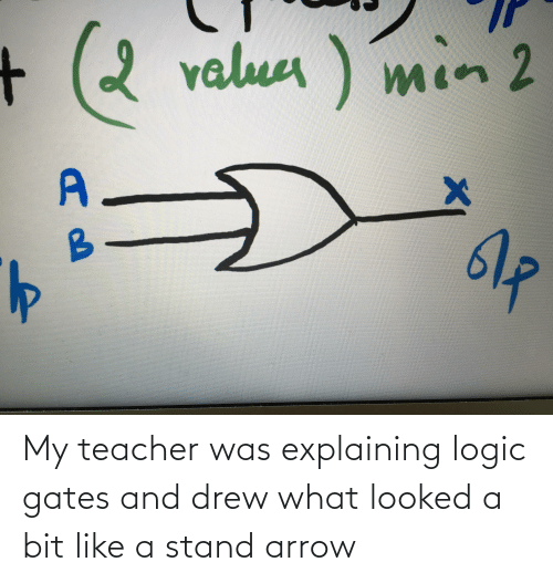 Arrow: My teacher was explaining logic gates and drew what looked a bit like a stand arrow