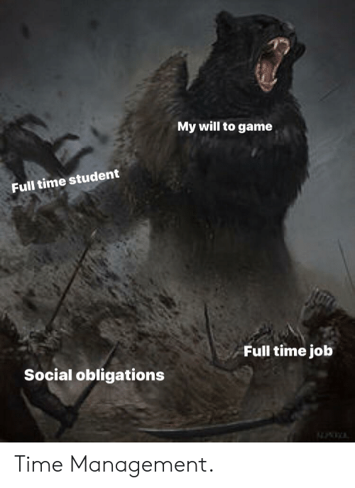 full time job: My will to game  Full time student  Full time job  Social obligations Time Management.