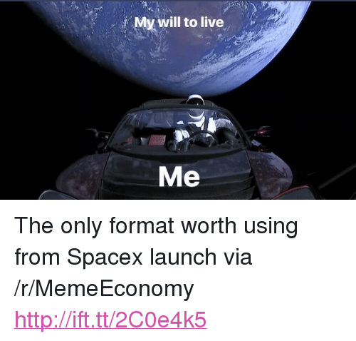 "Spacex Launch: My will to live  Me <p>The only format worth using from Spacex launch via /r/MemeEconomy <a href=""http://ift.tt/2C0e4k5"">http://ift.tt/2C0e4k5</a></p>"