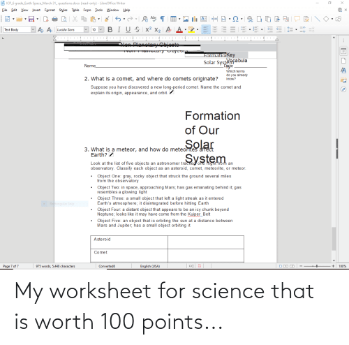 Worksheet: My worksheet for science that is worth 100 points...