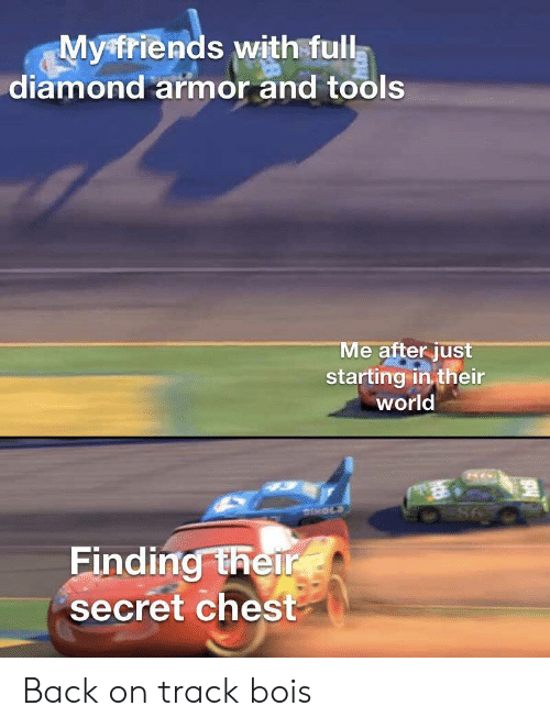 Diamond, World, and Back: Myfriends with full  diamond armor and tools  Me after just  starting in their  world  DHOLS  98  Finding their  secret chest Back on track bois